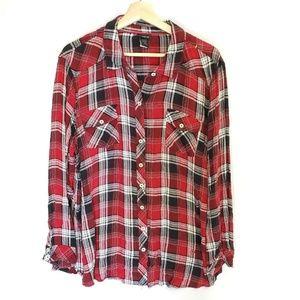 Torrid Womens Camp Shirt Plaid Rayon 3/4 Plus Size